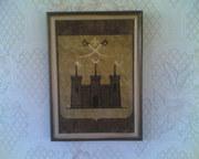 Картина из шпона!!!Герб города Хотин 1826 года.Сделан мной из шпона.