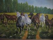 Лошади бегущие по полю